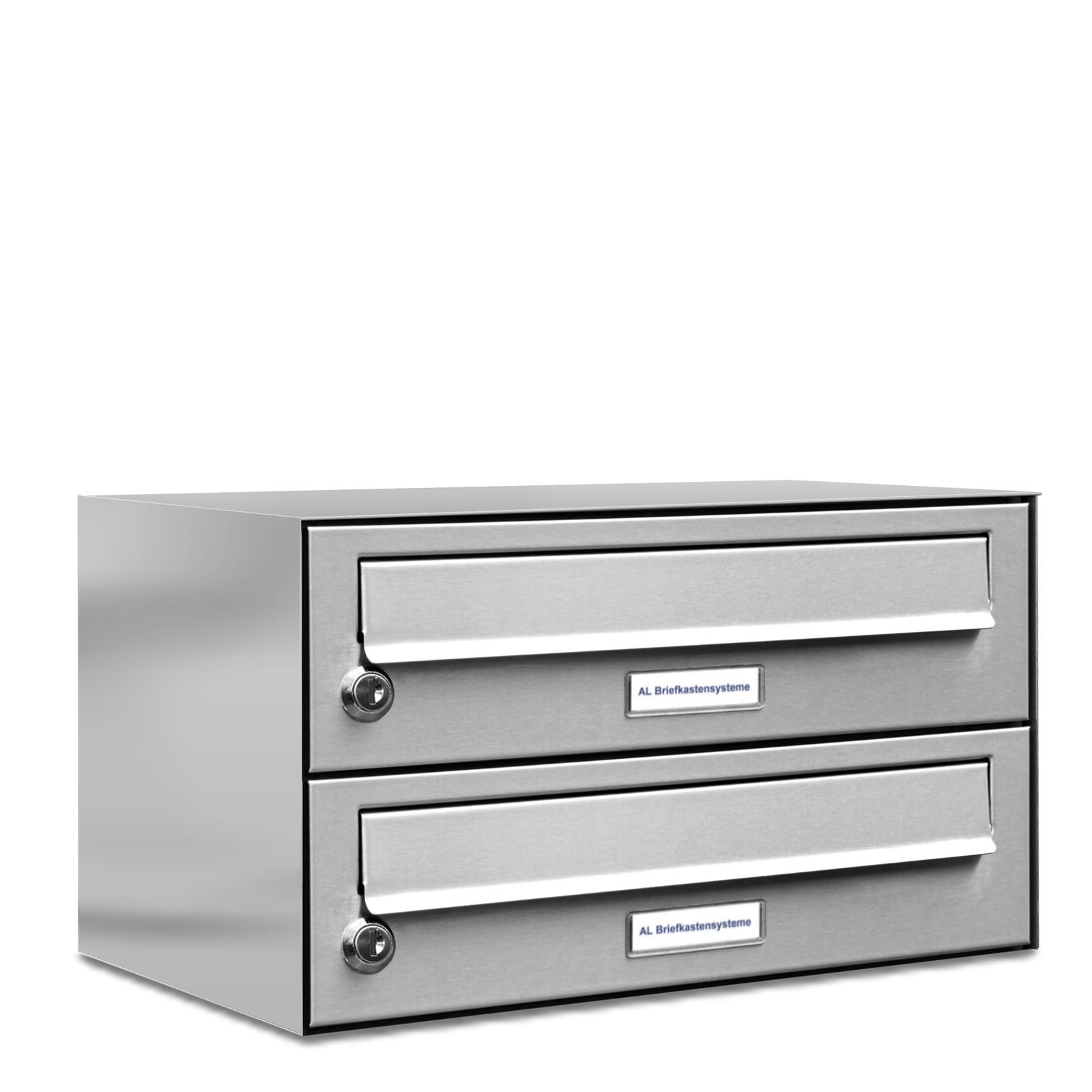 2er 1x2 v2a edelstahl briefkasten anlage einbau aufputz ebay. Black Bedroom Furniture Sets. Home Design Ideas