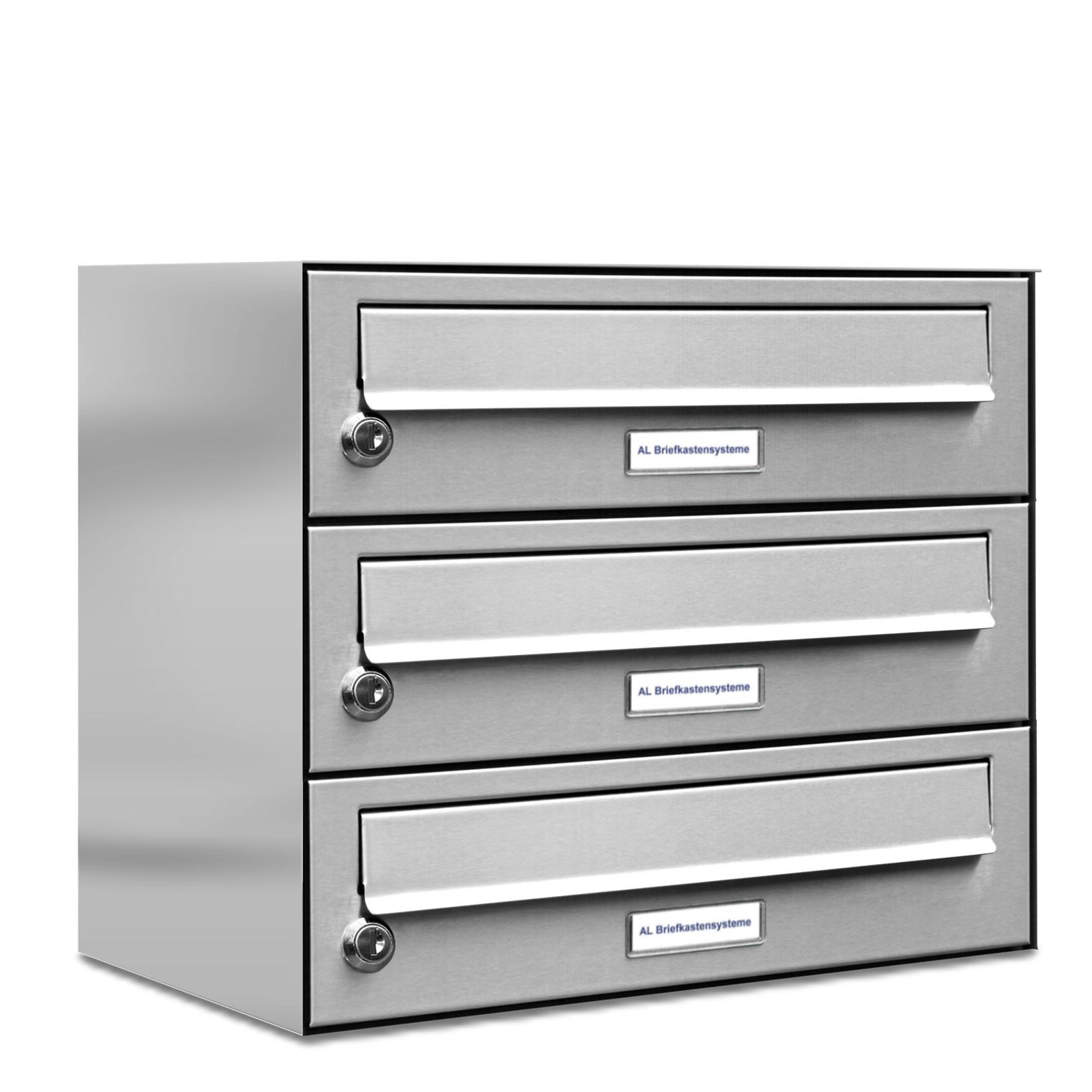 3er premium edelstahl briefkasten anlage einbau aufputz ebay. Black Bedroom Furniture Sets. Home Design Ideas
