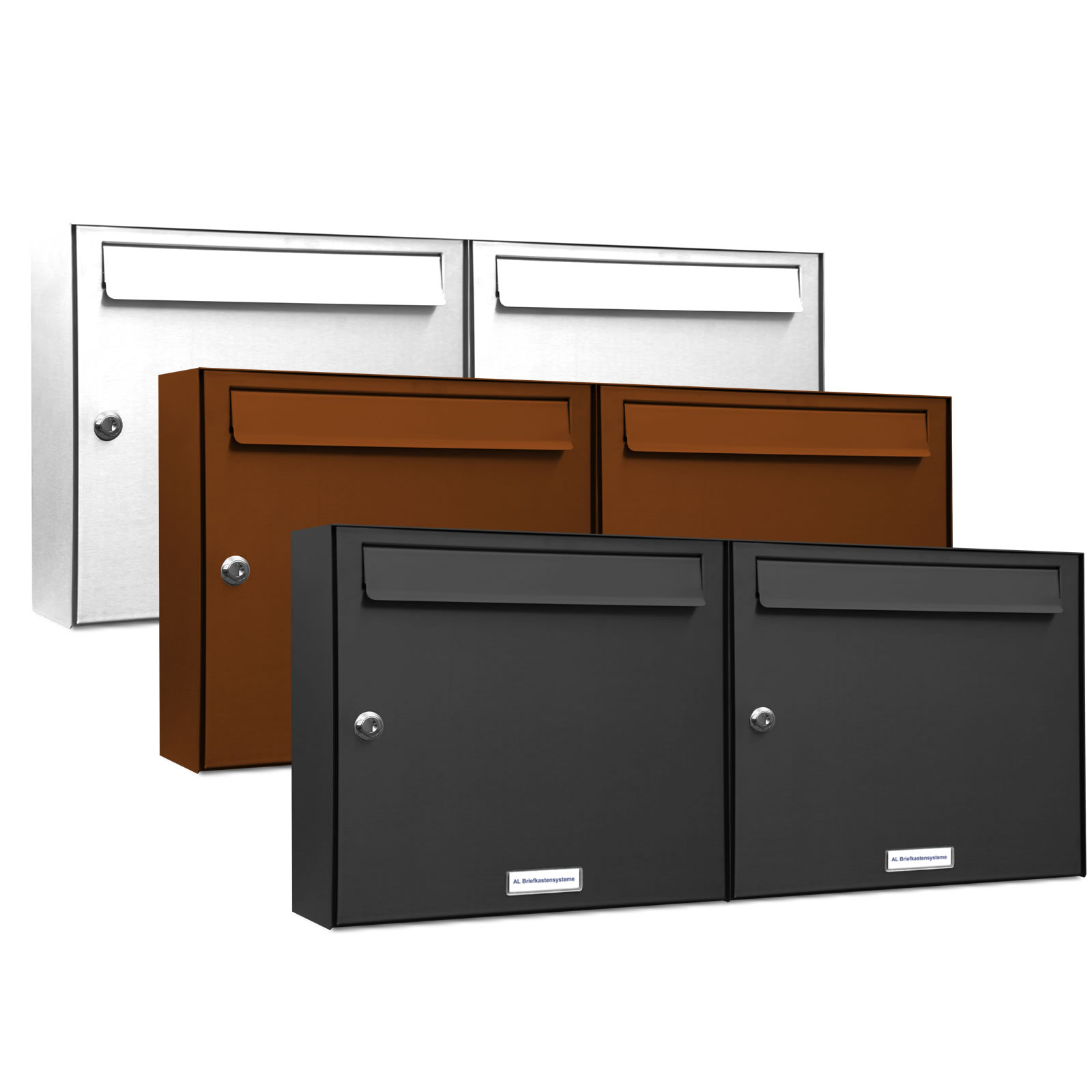 2er 2x1 briefkasten anlage aufputz wandmontage ral farbe. Black Bedroom Furniture Sets. Home Design Ideas