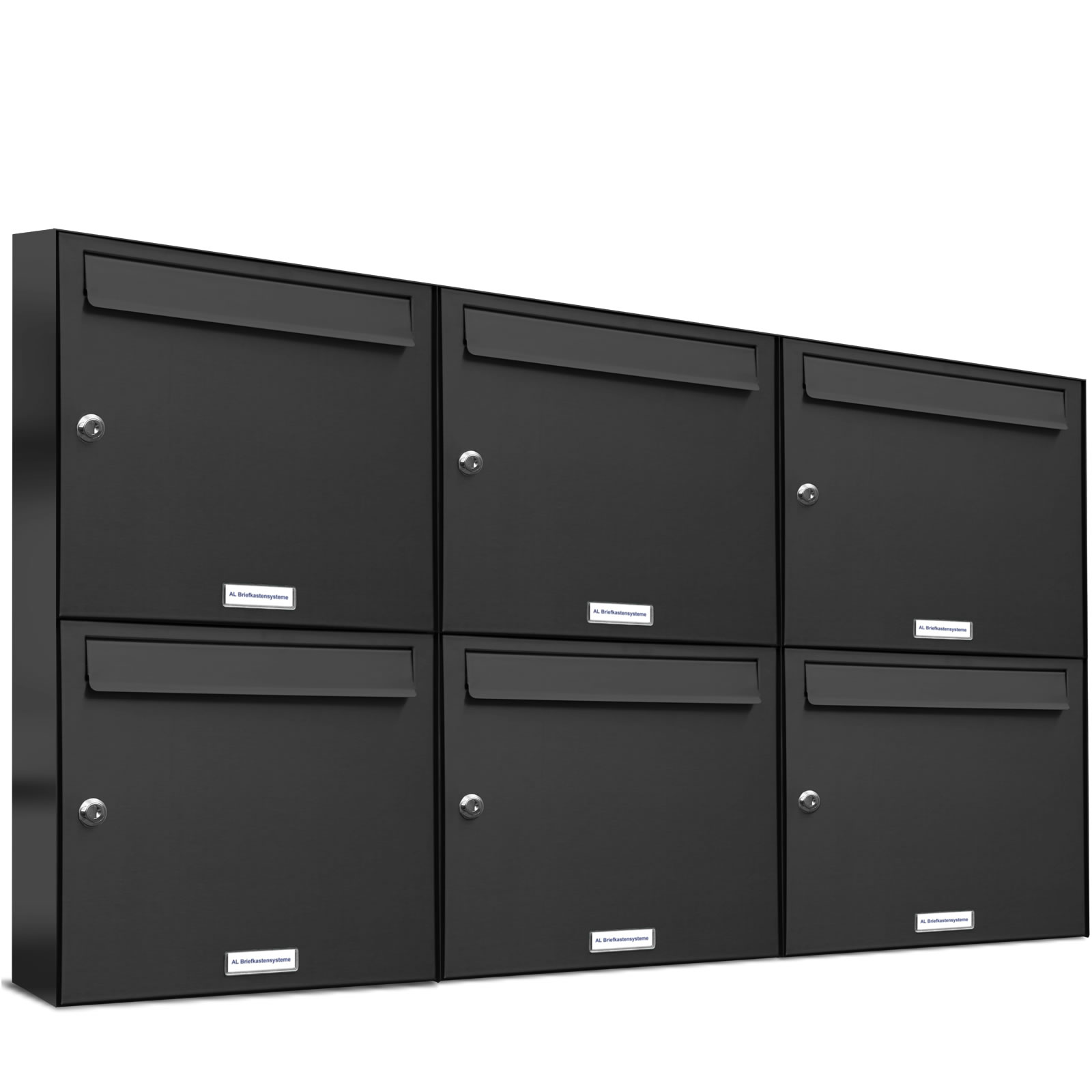 6er premium wand briefkasten anthrazit ral 7016 6 fach a4 postkasten design a4 ebay. Black Bedroom Furniture Sets. Home Design Ideas