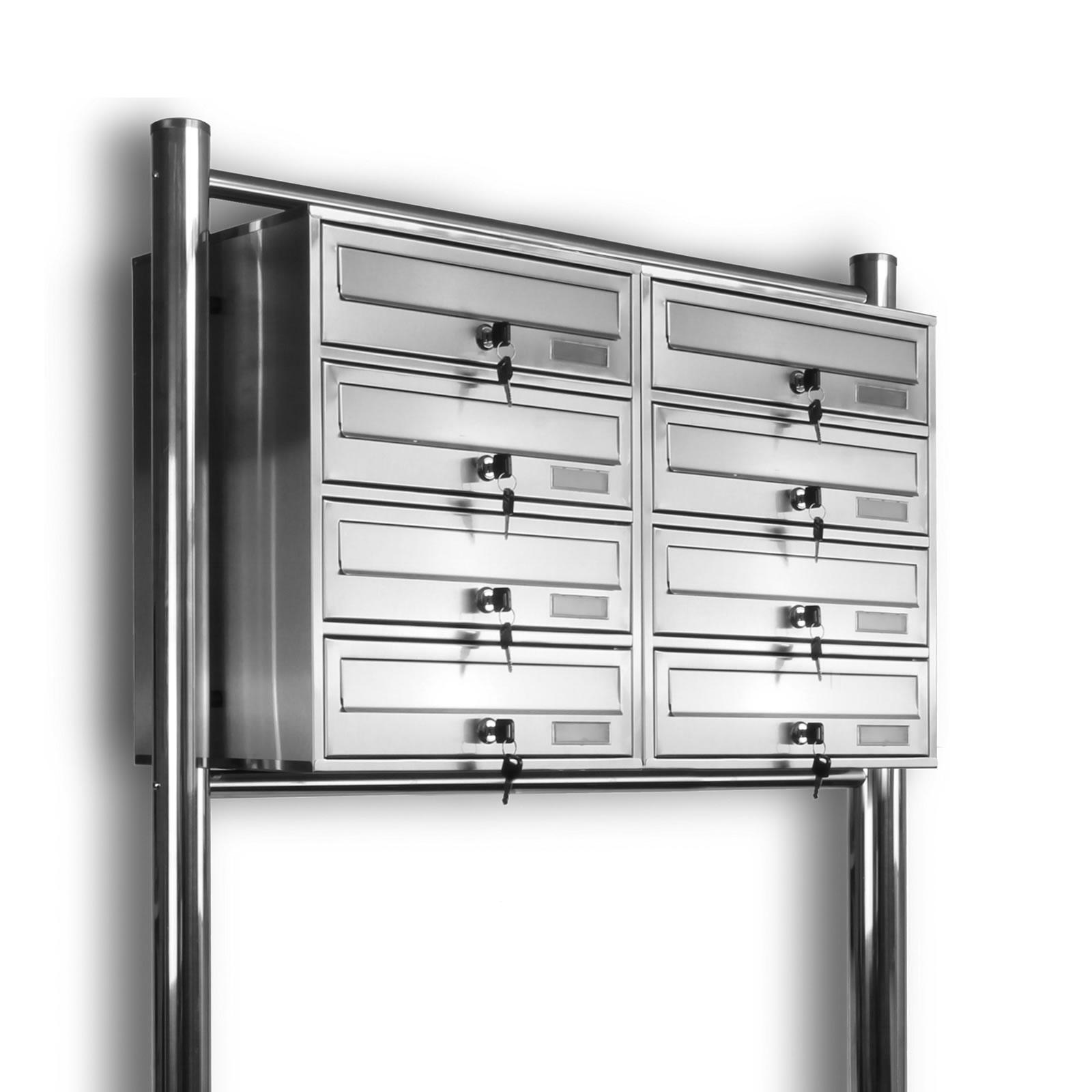 kelvin 8er edelstahl standbriefkasten mit regendach briefkasten anlage 8 fach ebay. Black Bedroom Furniture Sets. Home Design Ideas