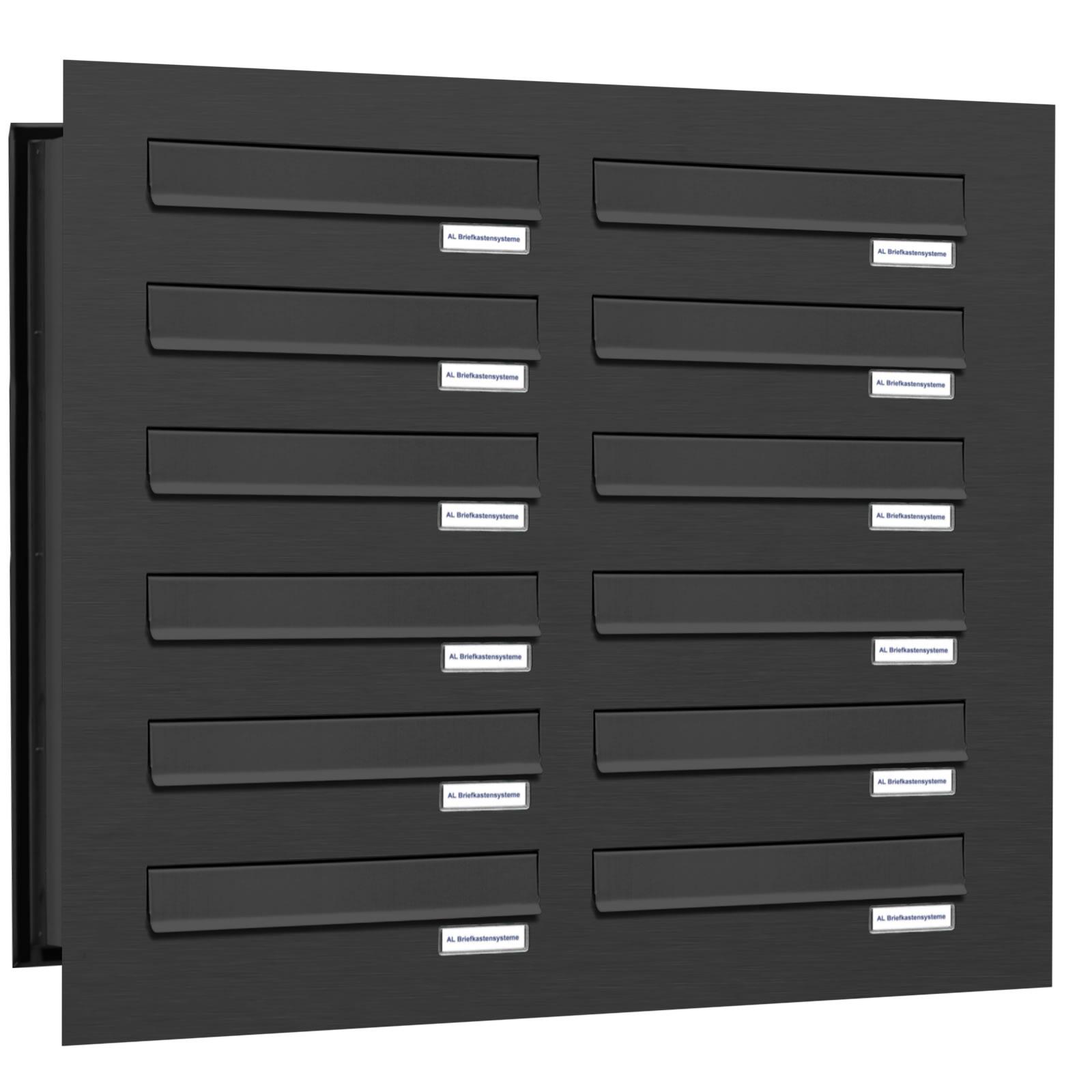 12er premium mauer durchwurf briefkasten ral 7016 anthrazit 12 fach postkasten ebay. Black Bedroom Furniture Sets. Home Design Ideas