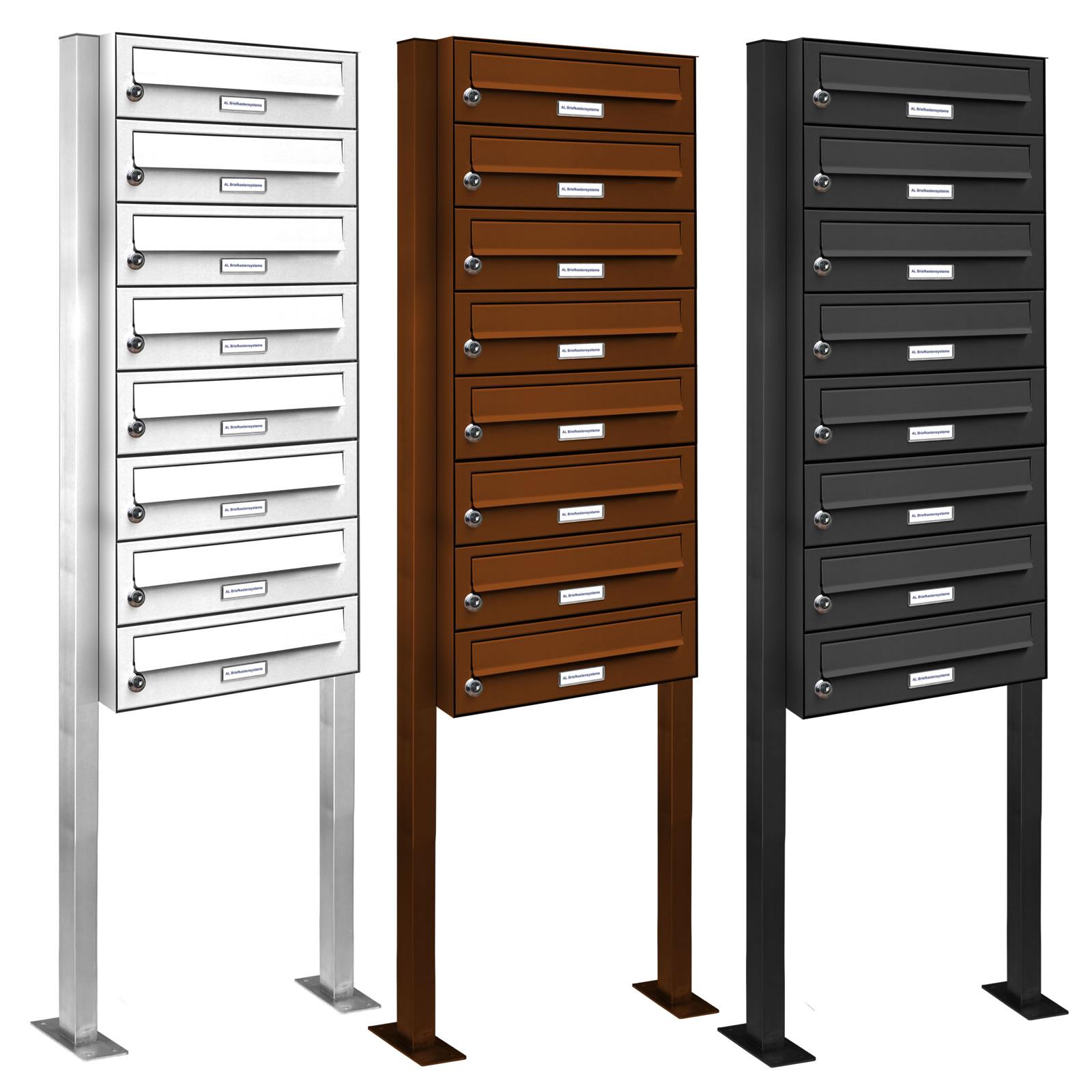 8er briefkasten standanlage pulverbeschichtet post liegend neu. Black Bedroom Furniture Sets. Home Design Ideas
