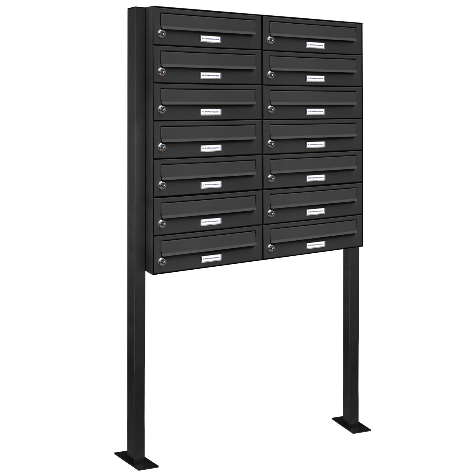 14er 2x7 standbriefkasten anlage freistehend ral 7016. Black Bedroom Furniture Sets. Home Design Ideas