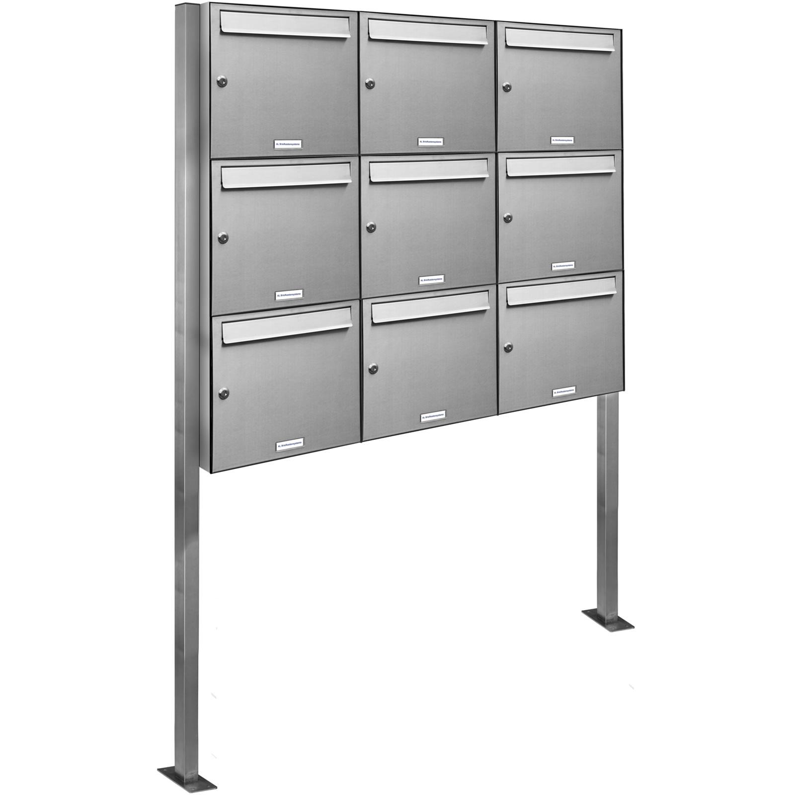 edelstahl briefkasten standbriefkasten briefkastenanlage post stehend ebay. Black Bedroom Furniture Sets. Home Design Ideas