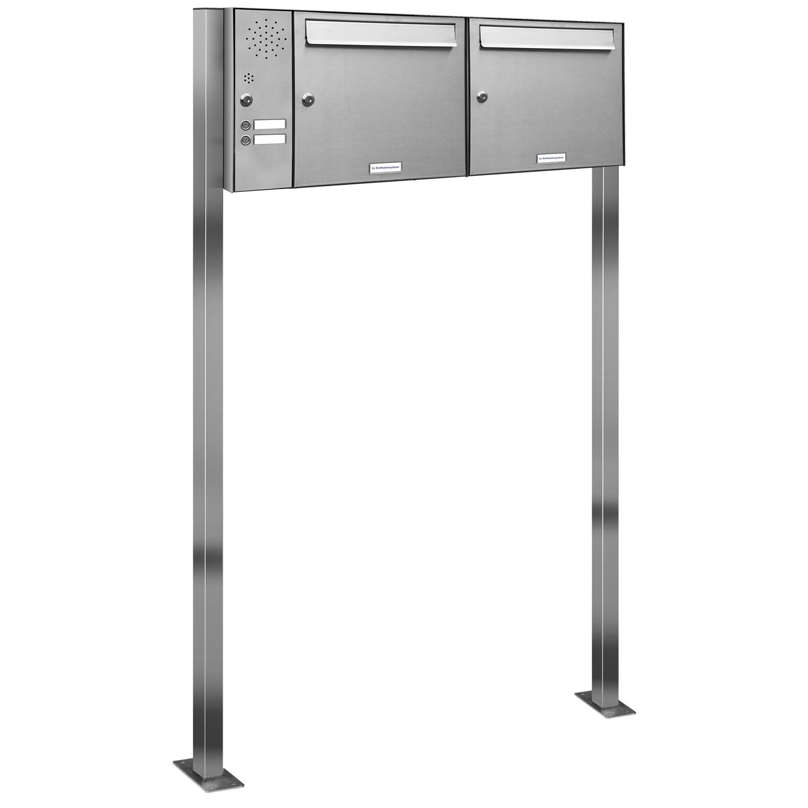 2er v2a edelstahl briefkasten standanlage freistehend mit. Black Bedroom Furniture Sets. Home Design Ideas