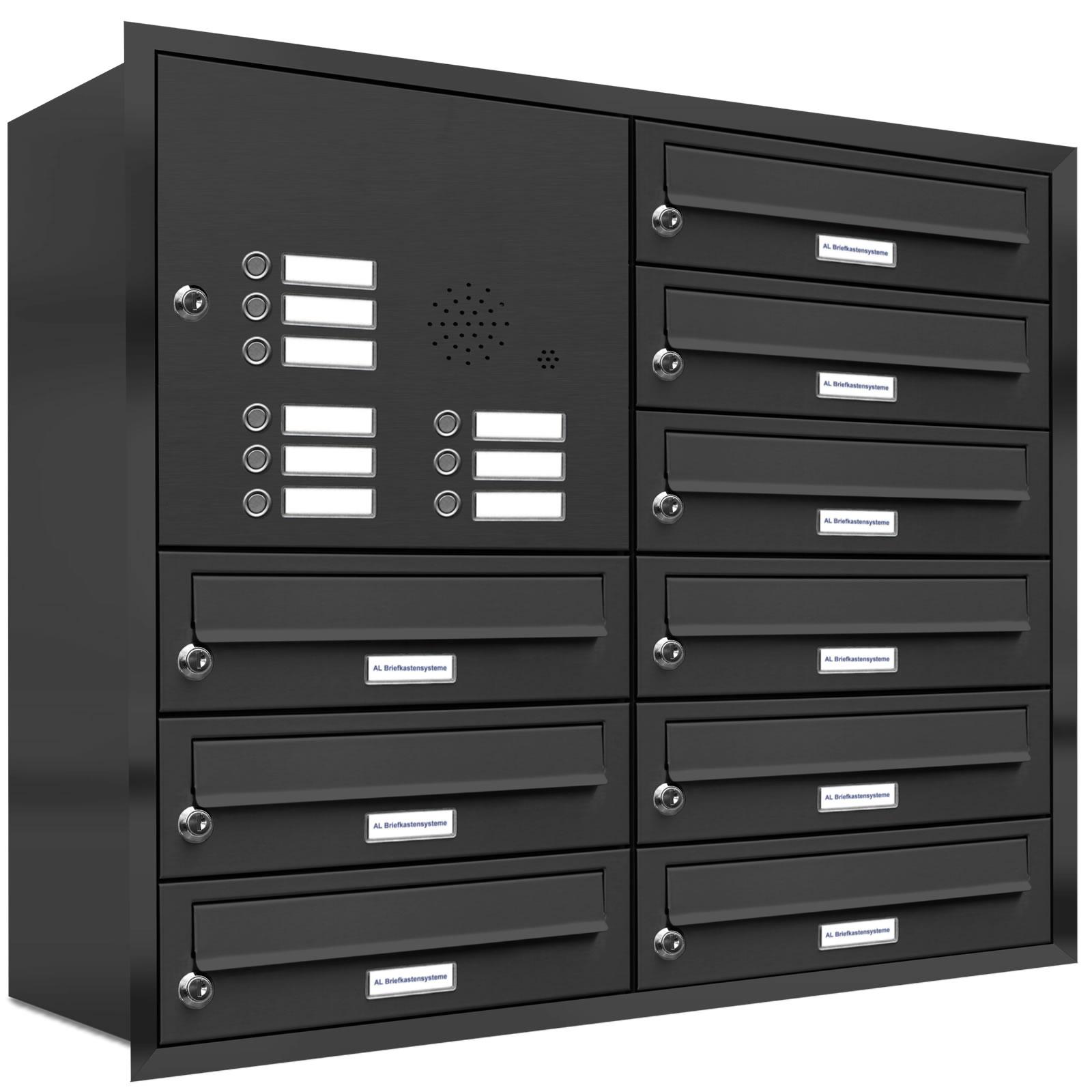 9er briefkasten anlage unterputz montage ral 7016 anthrazit klingel ebay. Black Bedroom Furniture Sets. Home Design Ideas