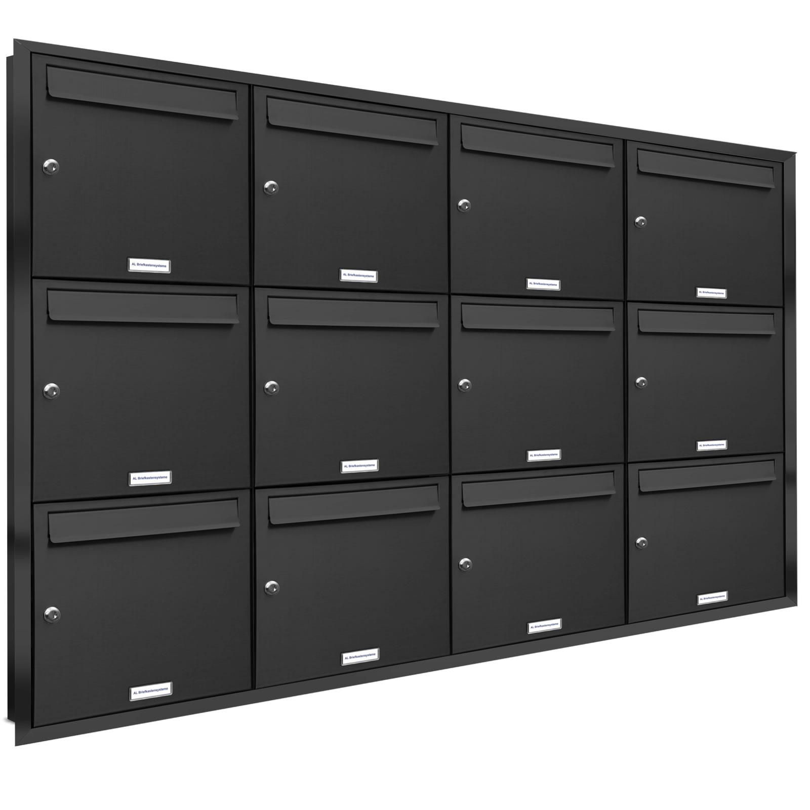 12er premium briefkasten anthrazit ral 7016 12 fach unterputz anlage postkasten ebay. Black Bedroom Furniture Sets. Home Design Ideas