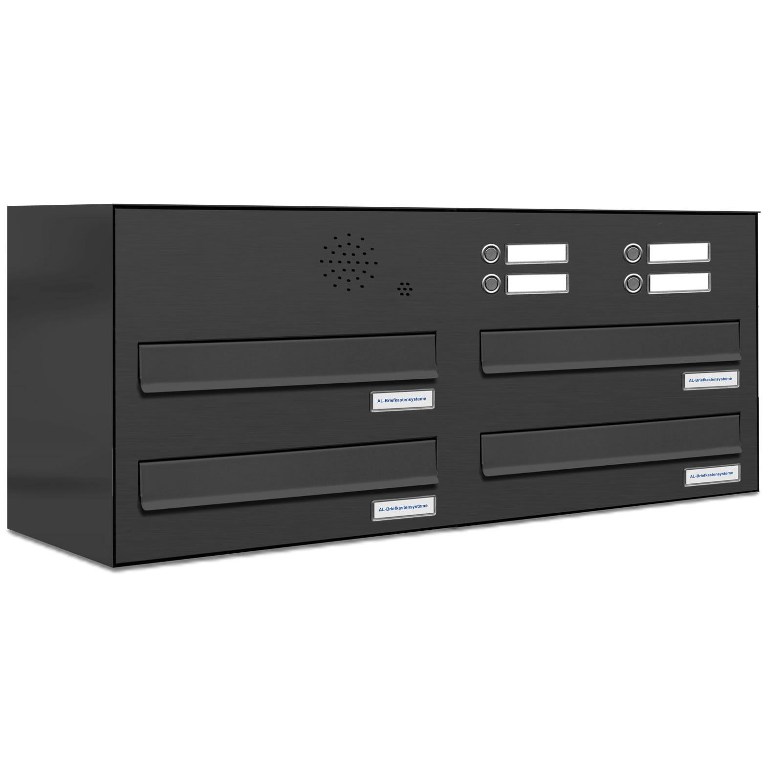 4er premium zaun durchwurf briefkasten anthrazit mit klingel 4 fach ebay. Black Bedroom Furniture Sets. Home Design Ideas