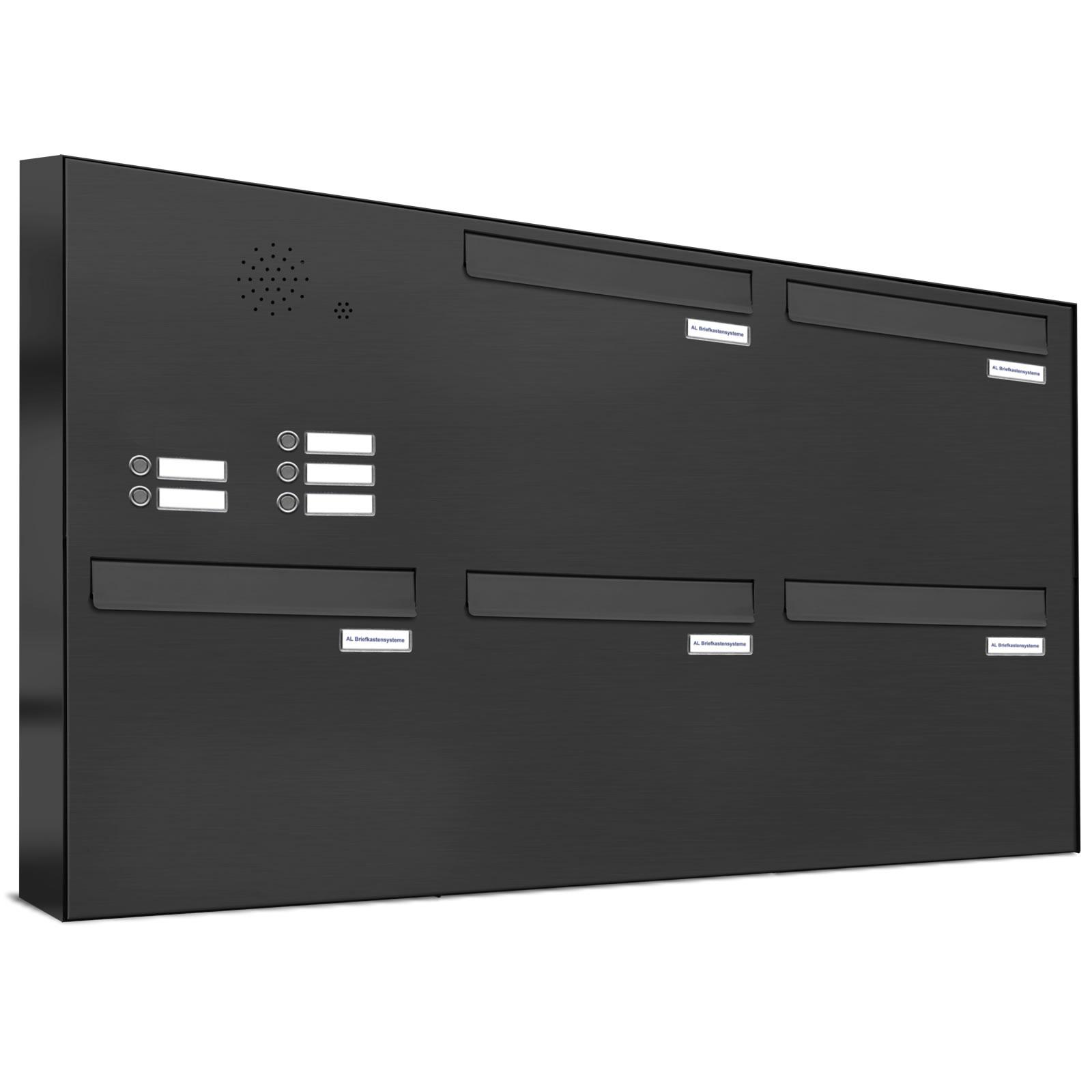 5er briefkastenanlage f r t r zaundurchwurf klingel ral 7016 anthrazit ebay. Black Bedroom Furniture Sets. Home Design Ideas