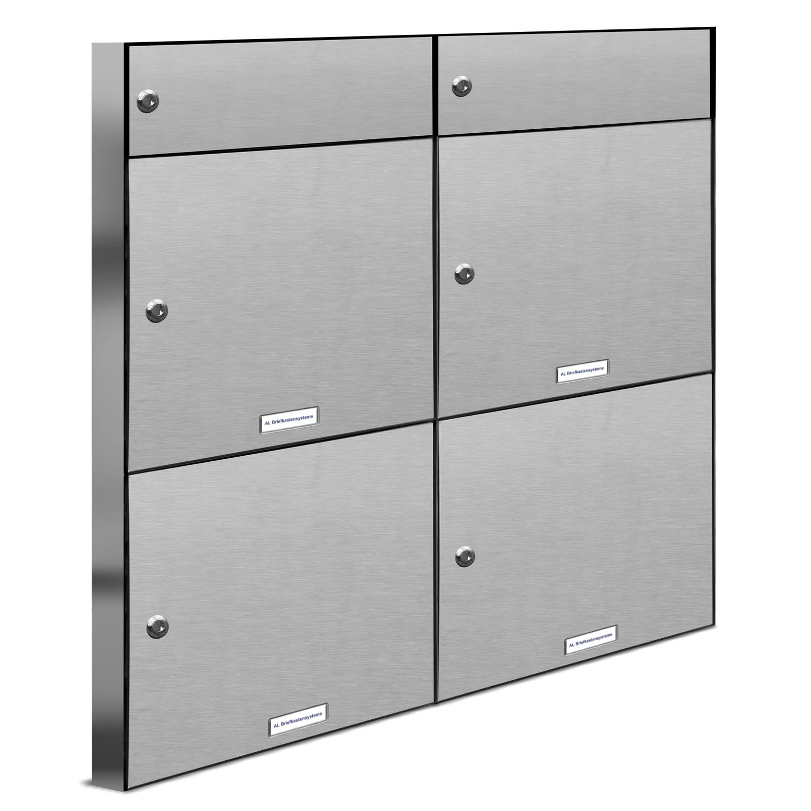 4er premium v2a zaun durchwurf briefkasten mit klingel 4 fach postkasten ebay. Black Bedroom Furniture Sets. Home Design Ideas